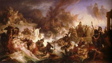 Kaulbach, Wilhelm von. 1868. Die Seeschlacht bei Salamis