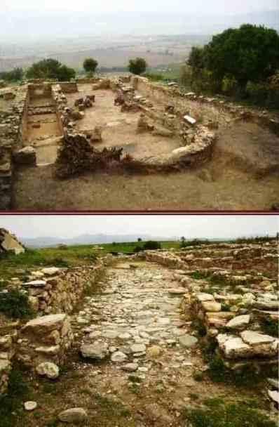 """Από τον αρχαιολογικό χώρο """"Καστρί Δολίχης"""" Επάνω: Πανοραμική απεικόνιση της Βασιλικής Γ'. Κάτω: Ο Δρόμος που χωρίζει μέρος της Πόλεως."""